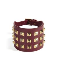 Valentino - Purple Leather Big Bracelet With Rockstuds - Lyst
