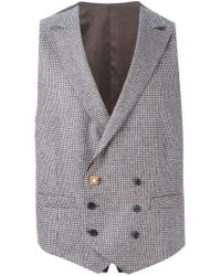 Lardini - Natural Houndstooth Pattern Gilet for Men - Lyst