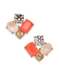kate spade new york | Orange Gold-Tone Cluster Stud Earrings | Lyst