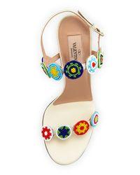 Valentino - Blue Medallion Beaded Sandals - Lyst