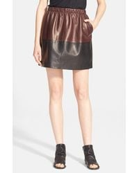 VINCE | Black Colorblock Leather Skirt | Lyst