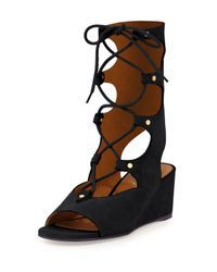 Chloé - Black Suede Gladiator Wedge Sandal - Lyst