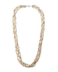 Gardenia - Metallic Gold-Tone & Champagne Freshwater Pearl Necklace - Lyst