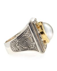 Konstantino - Metallic Single Pearl Square Ring - Lyst