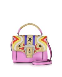 Paula Cademartori - Pink Dun Dun Intarsio Big Bang Velvet Rose Leather And Suede Satchel - Lyst