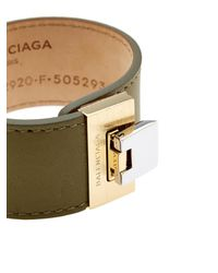 Balenciaga - Natural Le Dix Leather Cuff - Lyst
