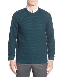 Ted Baker | Gray 'morrelo' Textured Raglan Crewneck Sweater for Men | Lyst
