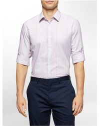 Calvin Klein - Purple White Label Slim Fit Tonal Check Plaid Roll-up Sleeve Shirt for Men - Lyst
