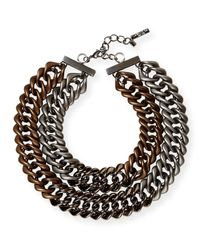 Lafayette 148 New York | Metallic Double-chain Link Necklace | Lyst