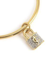 Juicy Couture | Metallic Jc Pave Padlock Slider Bangle Bracelet | Lyst