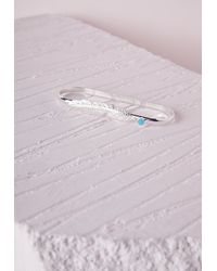Missguided | Blue Feather Small Stone Palm Bracelet | Lyst