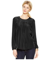 Michael Kors | Black Michael Long-sleeve Pleated Blouse | Lyst
