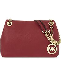 MICHAEL Michael Kors | Red Jet Set Medium Leather Messenger Bag | Lyst
