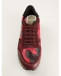 Valentino - Purple Rockrunner Paneled Camouflage Low-Top Sneakers - Lyst