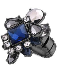 Guess - Black Hematite-tone Crystal Drama Stretch Ring - Lyst