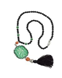 Kenneth Jay Lane - Multicolor Carved Jade Tassle Bead Necklace - Lyst