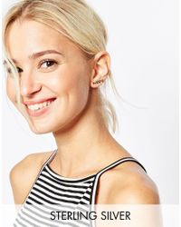 ASOS | Metallic Gold Plated Sterling Silver Happy Ear Crawler | Lyst