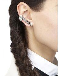 MFP MariaFrancescaPepe - Metallic Rhodium Plated Brass Swarovski Earrings - Lyst