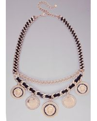 Bebe | Metallic Lion Medallion Necklace | Lyst