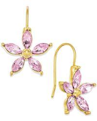 Lauren by Ralph Lauren - Pink Flower Stone Drop Earrings - Lyst