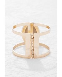 Forever 21 - Metallic Faux Stone Cutout Hinge Bracelet - Lyst