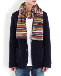 Paul Smith | Blue Multicoloured Striped Wool Blend Scarf for Men | Lyst
