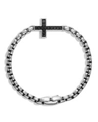 David Yurman | Metallic Pave Cross Bracelet With Black Diamonds for Men | Lyst