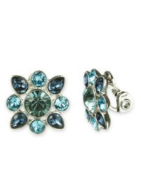 Givenchy - Blue Crystal Cluster Button Earrings - Lyst