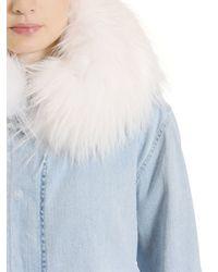 Mr & Mrs Italy   Blue Cotton Denim Parka W/ Murmansky Fur   Lyst