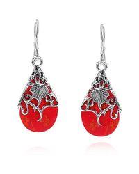 Aeravida - Pink Floral Vine Ornate Teardrop Red Coral .925 Silver Earrings - Lyst