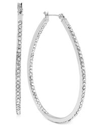 Touch Of Silver | Metallic Large Oval Crystal Hoop Earrings In Silver-plated Brass | Lyst