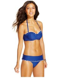 Jessica Simpson | Blue Seersucker Foldover Bikini Brief Bottom | Lyst