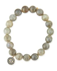 Sydney Evan | Yellow 10Mm Labradorite Beaded Bracelet With Evil Eye Charm | Lyst