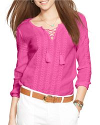 Lauren by Ralph Lauren | Pink Embroidered Cotton Top | Lyst
