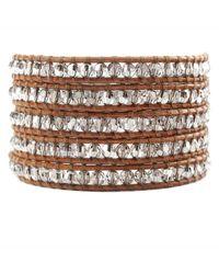 Chan Luu | Clear Quartz Wrap Bracelet On Brown Leather | Lyst