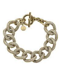 Michael Kors | Metallic Golden Pave Curb-link Bracelet | Lyst