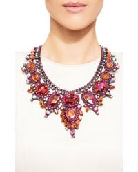 Carole Tanenbaum | Thorin Contemporary Statement Necklace With Fuchsia, Pink-Orange And Aurora Borealis Rhinestones Set In Japanned Metal | Lyst