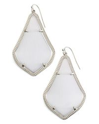 Kendra Scott | Gray 'alexandra' Agate Drop Earrings - Rhodium/ Slate Cats Eye | Lyst