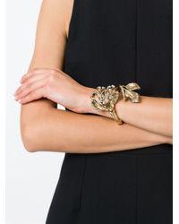 Roberto Cavalli | Metallic Swarovski Crystal Floral Bracelet | Lyst
