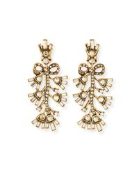 Oscar de la Renta | Metallic Floral Baguette Crystal Clip Earrings | Lyst