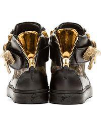 Giuseppe Zanotti   Black Calf_hair Eagle High_top Sneakers for Men   Lyst