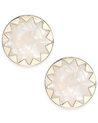 House of Harlow 1960 | White Gold-tone Imitation Pearl Sunburst Button Earrings | Lyst