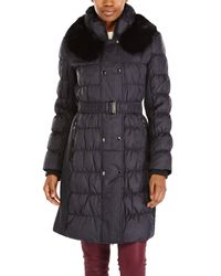 Via Spiga | Black Real Fur Trim Belted Long Coat | Lyst