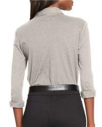 Lauren by Ralph Lauren | Gray Buttoned-placket Cotton Top | Lyst