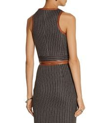 Jonathan Simkhai - Gray Leather-trimmed Pinstriped Neoprene Cropped Top - Lyst