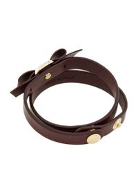 Ferragamo | Red Vara Bow Leather Bracelet | Lyst