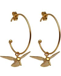 Alex Monroe - Metallic Gold-plated Hummingbird Hoop Earrings - Lyst