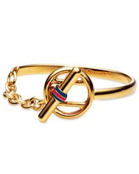 Tommy Hilfiger | Metallic Gold-Tone Signature Link Half-Chain Bangle Bracelet | Lyst