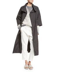 Brunello Cucinelli Gray 3/4-sleeve Long Belted Anorak Jacket