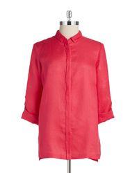 Elie Tahari | Red Linen Blouse | Lyst